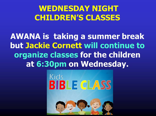 Wednesday night children's BIble class