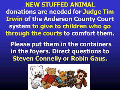 Stuffed animals needed for children's courts