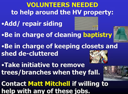 volunteer for caring for building and grounds of church property